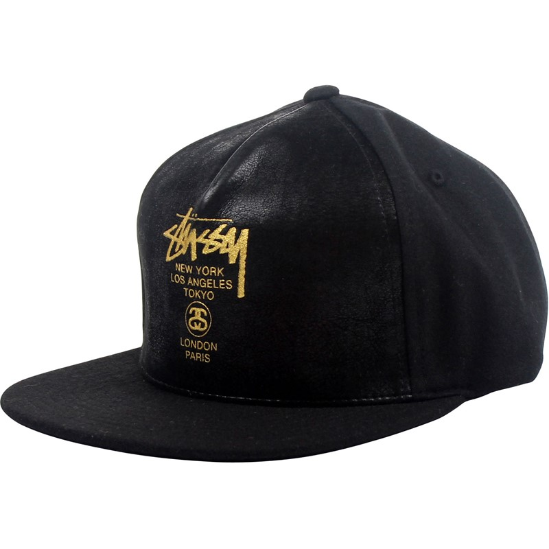8d3d1a10663 Stussy. Stussy - World Tour Leather Snapback Hat