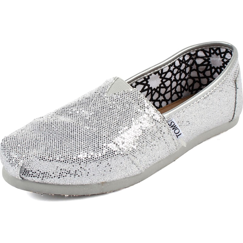 97904af6782 Toms - Womens Classic Canvas Slipon Shoes in Silver Glitter