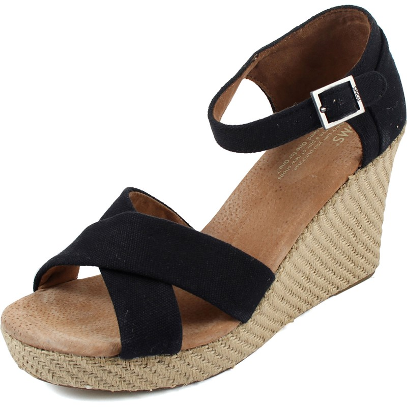 ebd5d236fc5 Toms. Toms - Womens Black Canvas Strappy Wedges Shoes