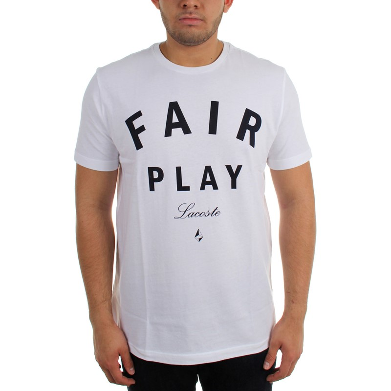 734096d6 Lacoste - Mens Jersey Short Sleeve Crew Neck Fair Play Printed T-Shirt
