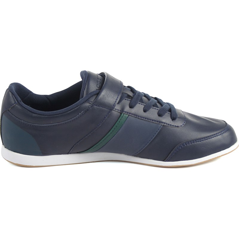 34a553c2b Lacoste - Mens Embrun Rei Spm Leather Synthetic Sneakers. Color  Blue Dark  Blue