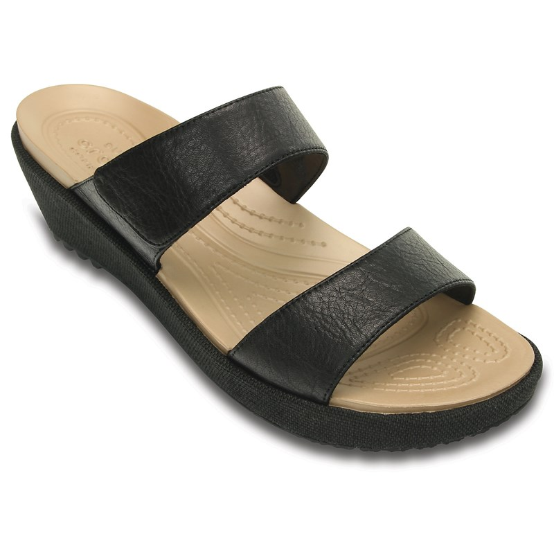b3af2f4bcaba crocs women s leigh wedge sandal Crocs - Women s A-Leigh 2 Strap Mini W  Wedge