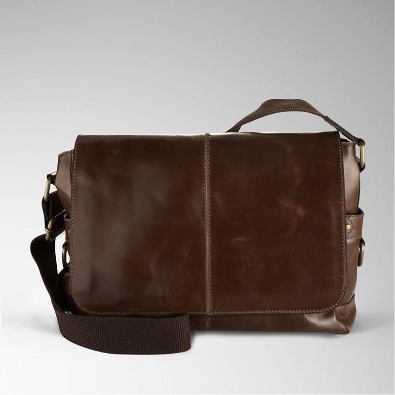 Fossil Ew Messenger Bag Jackson In Dark Brown