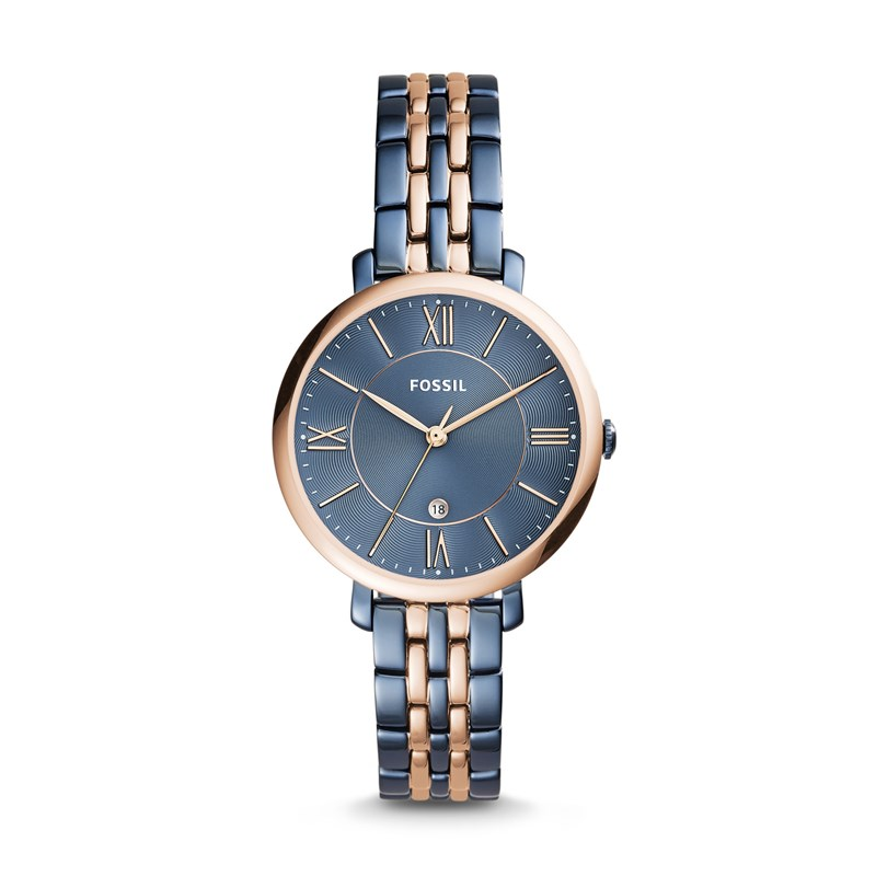 78ed88b2e2f1 Fossil Women's Jacqueline Three-Hand Date Two-Tone Stainless ...
