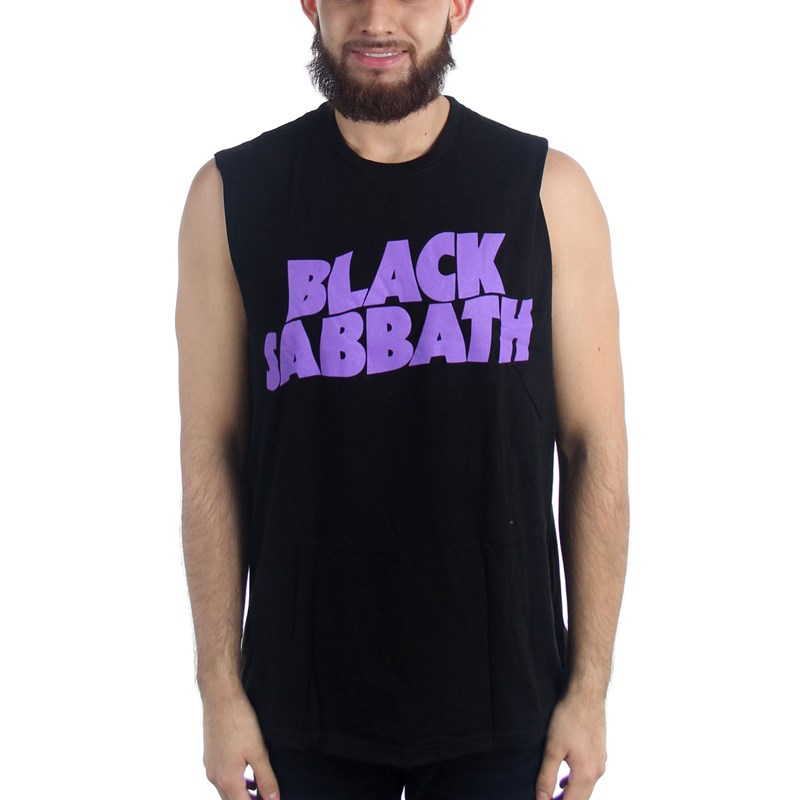 Black Sabbath Mens Purple Logo Sleeveless Tank Top