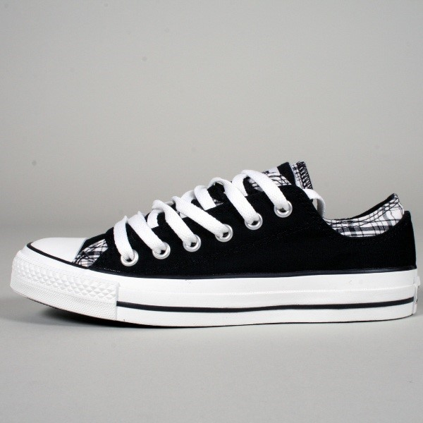 4529a127c33d92 Converse. Converse Chuck Taylor All Star Shoes (109859F) w  Double Upper in  Low Top Black Plaid